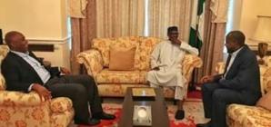 President Buhari recieves Saraki, Dogara in London