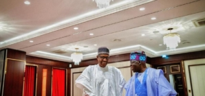 Tinubu in Aso Rock, refuses to discuss Buhari's reelection in 2019