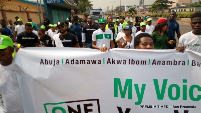 2019: Tuface, Banky W, others March for voter Education in Lagos