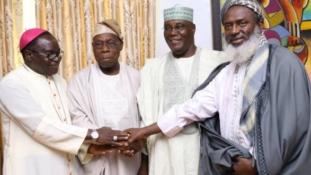PHOTOS: Atiku, Oyedepo, Kukah, Gumi storm Obasanjo's home