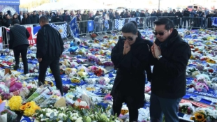 Leicester City Owner's wife and son visit stadium's crash site
