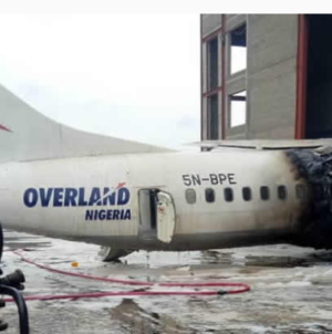 Overland plane catches fire, burns beyond repair