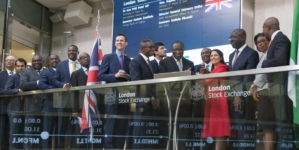 PHOTOS: CBN gov, Emefiele ringing the opening bell at London Stock Exchange last Friday