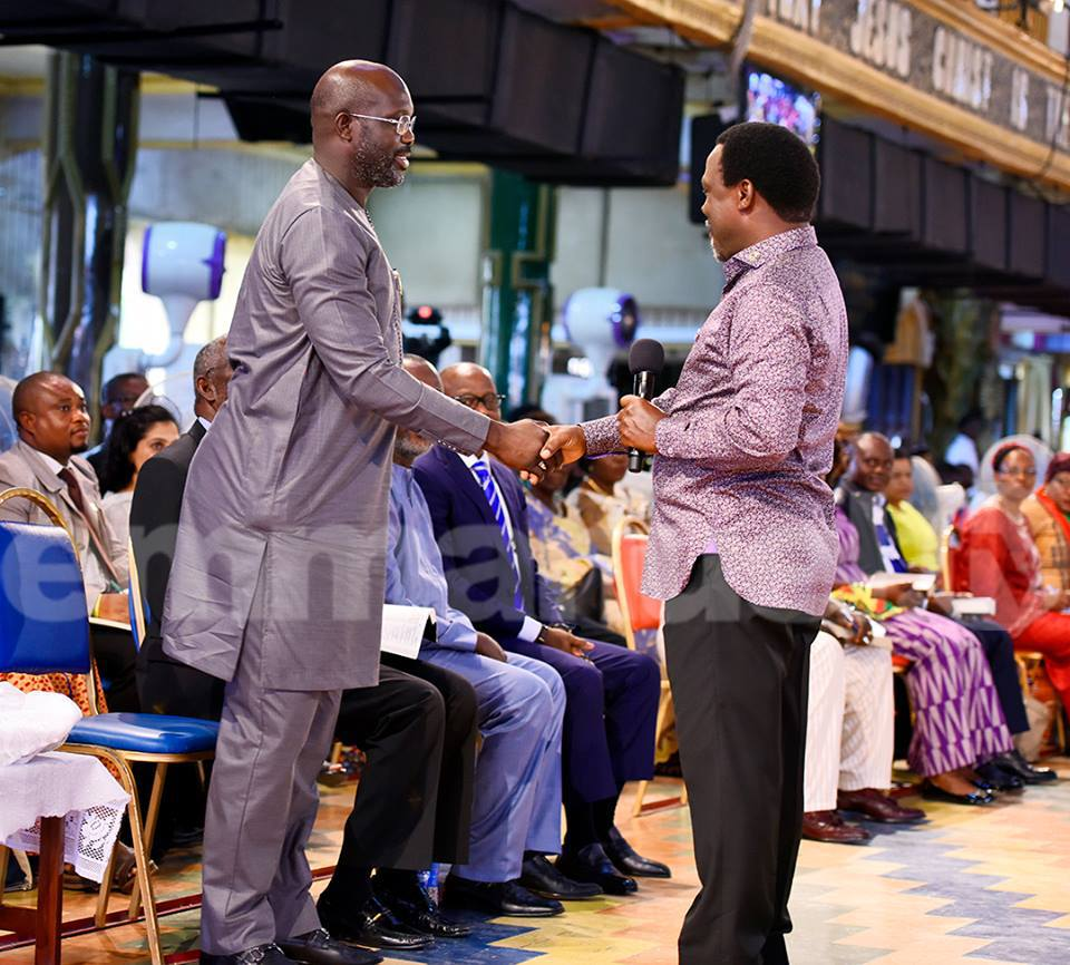 George Weah visits T B Joshua ahead of Liberia's run off election