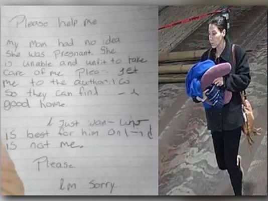 Mother gives birth, abandons baby in airport bathroom with handwritten note