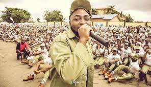 Jubilation as Davido joins Lagos NYSC camp