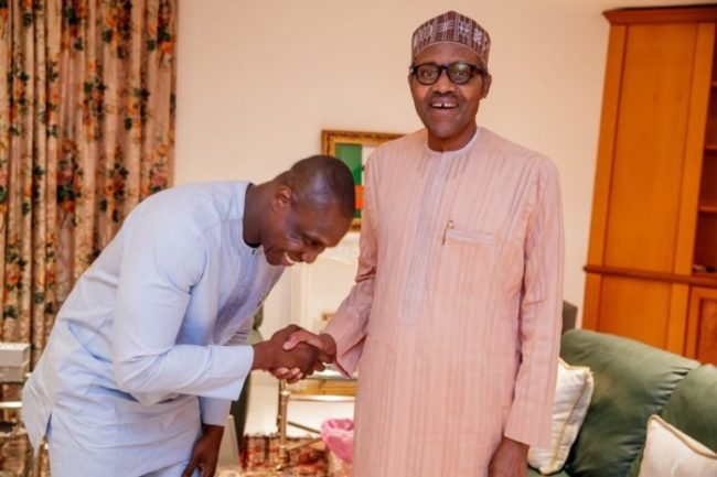 Photos: Forget my Dad, Obasanjo's son visit Buhari to pledge support